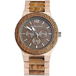 BS® Handmade Fashion Wooden Watch Green Sandalwood and Maple With Day Date Function Quartz Movement Watch A Gift Idea BNS-160E
