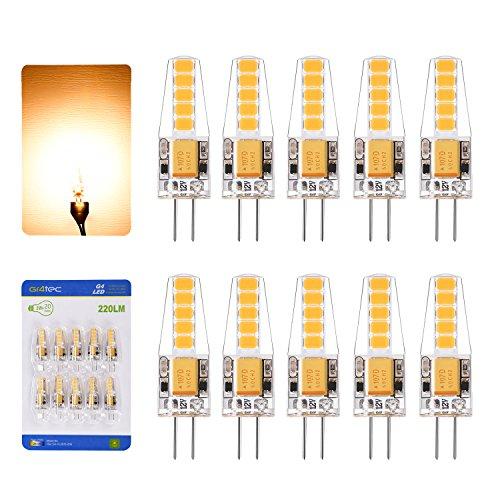 G4 LED Lampe Birnen 2W Warmweiss AC DC12V Ersetzt 20W Halogen Leuchtmittel Hell 2800K 220 Lumen 10er Pack