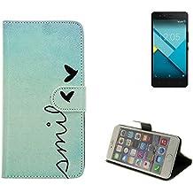 360° Funda Smartphone para BQ Aquaris M5, 'smile' | Wallet case flip cover caja bolsa Caso Monedero BookStyle - K-S-Trade (TM)