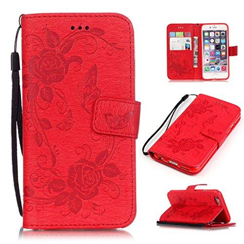 """MYTHOLLOGY Iphone 6 Plus Coque, 5.5"""" Coque pour iphone 6 Plus /6s Plus, Rétro Gaufré Fleur Bookstyle Étui à rabat Portefeuille Housse Case -Rose Rouge"""