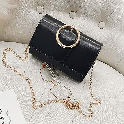 Mini Crossbody PU Leder Schulter Kette Tasche Sommer Verpackung Kette Flut verstellbaren Riemen Fashion Solid Color Tote Square Badge Bag(Schwarz)