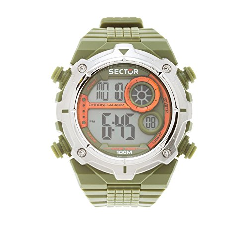 Sector Men's Digital Watch with LCD Dial Digital Display and Green PU Strap R3251172033
