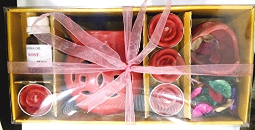 Allin Exporters 9 in 1 Rose Fragrance Gift Set for Air Freshener, Aromatherapy or Ayurveda (Red)