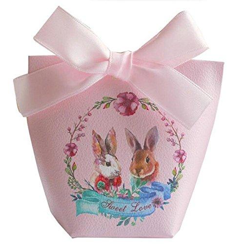Jun 36pcs Romantische Rosa Kaninchen Druck chocholate Geschenkbox Hochzeit Geburtstag Süßigkeiten Boxen für Party Favor Supplies, Sackleinen, burgunderfarben, 9*4.6cm (2 Stück-polka Dots-band)