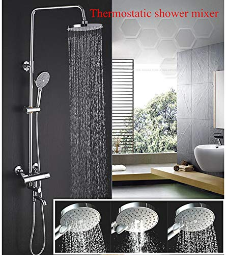 YAMEIJIA in Wall Bathroom Wall Mounted Rainfall Exposed Bath & Shower Thermostatic Shower Faucet Set