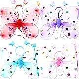 Isuper Schmetterling Kostüm, 3- teiliges Fee Kostüm Set mit Flügel, Stirnband und Zauberstab Party Schmetterling Kostüm für Mädchen (Zufällige Farbe)