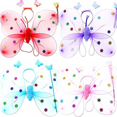 Kostüm, 3- teiliges Fee Kostüm Set mit Flügel, Stirnband und Zauberstab Party Schmetterling Kostüm für Mädchen (Zufällige Farbe) (Dunkle Fee Kostüme Für Mädchen)