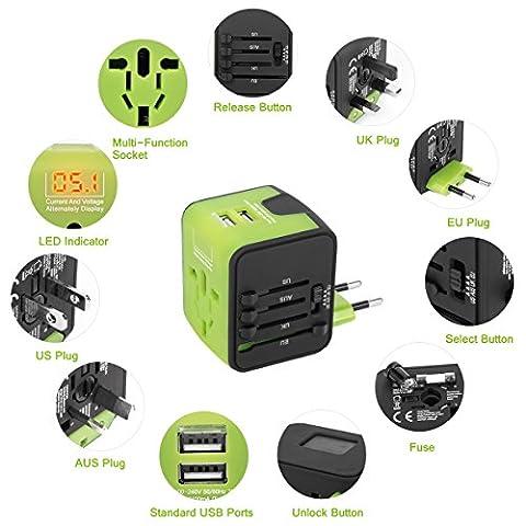 Universal Adapter für 150 Länder, 4 in 1 Reisestecker Weltweit, mit Dual USB, für Australien Brasilien England Dänemark USA Europa Asien, All-in-one, mit LED-Betriebsanzeige Überspannungsschutz (Grün)