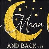 Schwarzer Stoff mit Text und gelbem Mond von Timeless