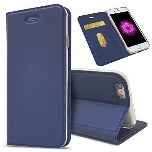 iPhone 6 Plus - Protective Bumper Shell Leather Case/Cover / Bumper/Skin / Cushion - Fashion Art Collection (Navy Blue)
