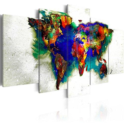 Quadro 200x100 cm ! tre colori da scegliere - 5 parti - grande formato - quadro su tela fliselina - stampa in qualita fotografica - mappa del mondo k-a-0011-b-o 200x100 cm b&d xxl