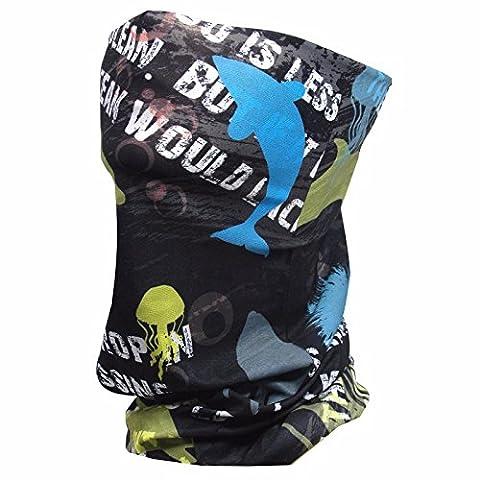 Masque soleil de pêche–Aqua x Masque Visage Tube pour Course à Pied Cyclisme Moto d'équitation en été–soleil protection poussière et vent Shield rapide sec Extreme Sensation douce Skin Touch Bandeau en tissu Type de 2, Homme, SPMF-115