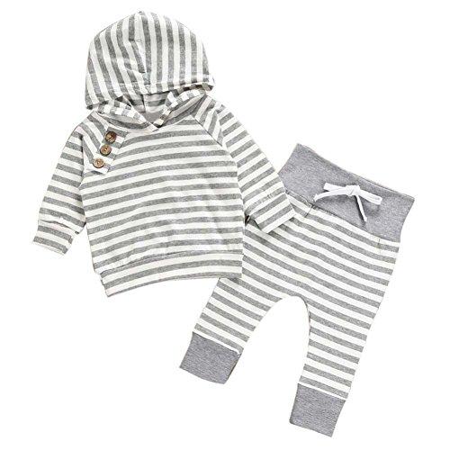 Xshuai Neugeborene Baby Mädchen Junge Outfits lange Ärmel Kapuzenstreifen T-Shirt Tops + Hosen Set (12-18 Monate, Grau)