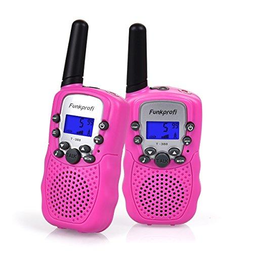 Funkprofi Walkie Talkies für Kinder, T-388 Funkgeräte für Kids ab 3 Jahre PMR 446 Reichweite bis zu 3 km 8 Kanäle für Einkaufen, Freizeitpark, Zelten, Shopping, Indoor - gespräch 2 Stück Pink