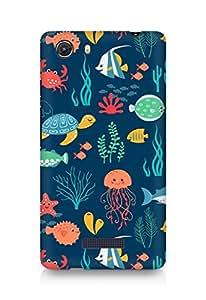 Amez designer printed 3d premium high quality back case cover for Micromax Unite 3 (Fish turtle jellyfish art texture)