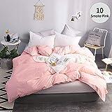 bdfdfb kinderbettwäsche lila,Bettbezug 2 Personen Bettbezüge King Double 600TC Luxusbettwäsche aus Reiner Baumwolle 220 * 240 200 * 200 Schwarz-10 Rauch Pink_155x
