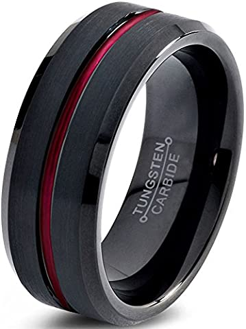 Tungsten Wedding Band Ring 10mm for Men Women Red Black Beveled Edge Brushed Polished Lifetime Guarantee Size 61
