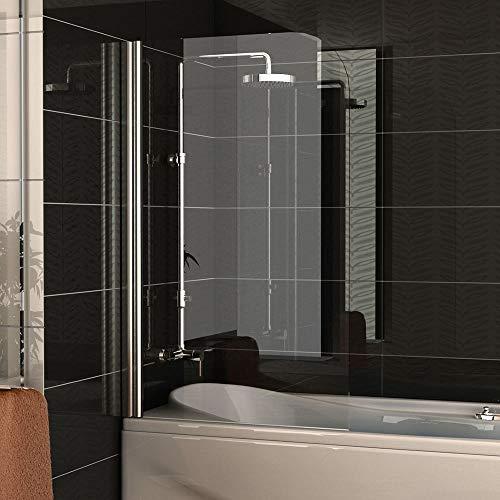 Badewannenabtrennung Echtglas/Trennwand ca. 75 x 130 cm/Badewanne / Duschabtrennung aus Sicherheitsglas/Dusche Duschwand/Duschkabine Klappbar Drehtür