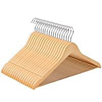 SONGMICS (Maple Wood 44.5 cm Wooden Adult Wooden Coat Hangers with Trouser Bar