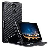 Terrapin, Kompatibel mit Sony Xperia L2 Hülle, Leder Tasche Case Hülle im Bookstyle mit Standfunktion Kartenfächer - Schwarz Karbonfaser Dessin EINWEG