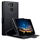 Terrapin, Kompatibel mit Sony Xperia L2 Hülle, Leder Tasche Case Hülle im Bookstyle mit Standfunktion Kartenfächer - Schwarz Karbonfaser Dessin