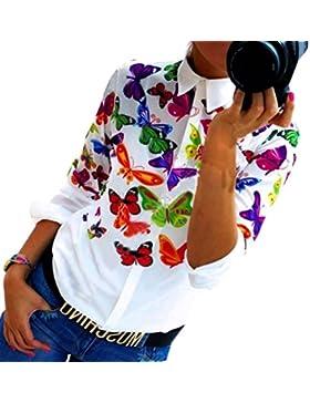 Camisas Mujer,Xinan Gasa Mariposa Manga Larga Blusa Ocasional