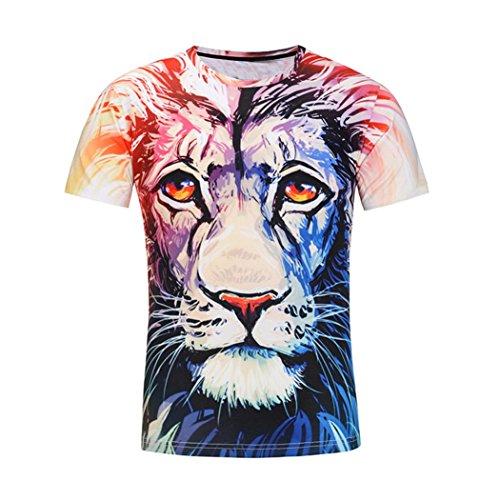 Baumwolle Lion Gedruckt Thema T-Shirt Rundhalsausschnitt Shirt Sommer Top,Weiß Blau,XL