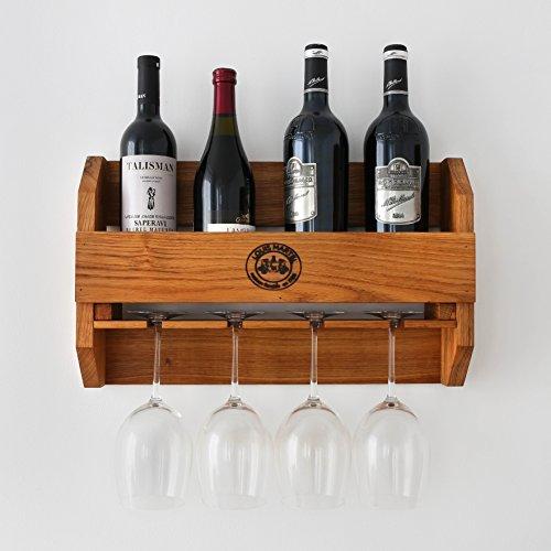BestLoft.de Original-Louis Martel Weinregal aus Eiche 4-5 Flaschen und 4 Gläser Flaschenregal...