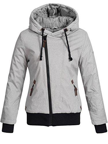 DESIRES Damen Besti warme Herbst Winter Jacke Winterjacke Regenjacke Steppjacke Windbreaker gefüttert 2325 LIGHT GREY S