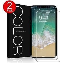 [2 pièces] iPhone X Protection écran,G-Color iPhone X film en verre trempé [0.2mm,2.5D][sans bulle d'air] [9H dureté] [anti-rayure],applicable à Apple iPhone X