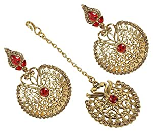 MUCH MORE Style Gold Plated Crystal made Polki Earring With Maang Tikka Women (Red)