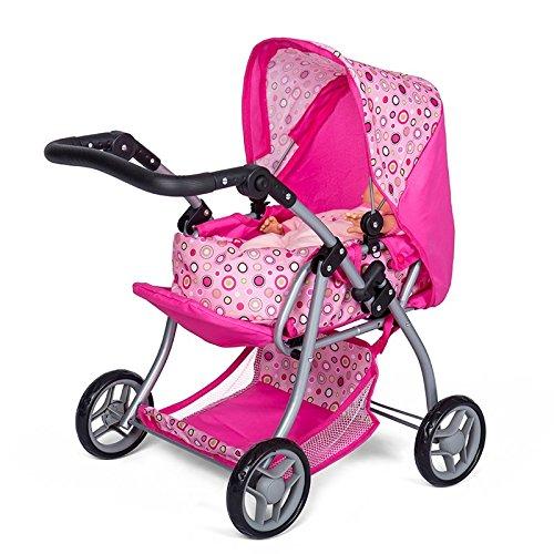 MINI MOMMY DISVALTOYS Carro de muñecas 3 en 1 Transformable en sillita Capazo extraible manillar regulable en altura: 30 62 cm plegable. Cochecito de muñecas Pink