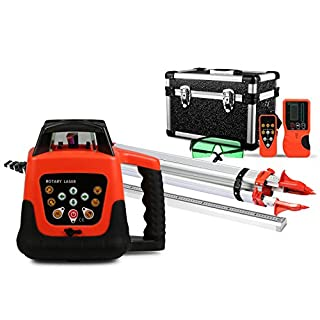FORAVER Green Rotary Laser Level Self Leveling Measuring Automatic with Receiver Remote Control Carrying Case Tripod 5m Staff Cross Line(Green Laser Level+Tripod+Staff)