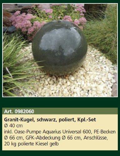 1 Stück Granit- Kugel, schwarz, poliert, Kpl.-Set, Ø 40 cm Wasserspiel mit Pumpe
