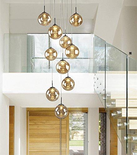 CBJKTX Pendelleuchte esstisch Pendellampe Höheverstellbar Kronleuchter Hängeleuchte 10-Flammig aus Glas drehbar-Treppenleuchte Wohnzimmerlampe Schlafzimmerlampe Flurlampe (Bernstein, 10-Flammig)