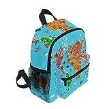 Funnyy Kids Backpack Cute Animal World Map Education Lightweight Preschool Shoulder Bag for Girls Boys Child