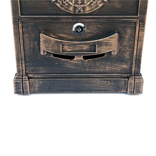 ZNL Briefkasten Postkasten aus Aluguss Antiker Wandbriefkasten XBX03 Antik-Gold - 5