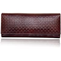 Yark Genuine Leather Ladies Hand Wallet With 6 Cards Slot (8011-Brown)