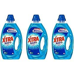 XTRA Total - Lessive Liquide - Lot de 3 x 1,25L - 75 Lavages