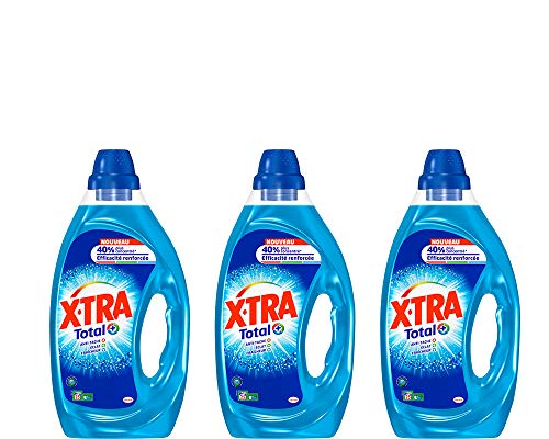 XTRA Total - Lessive Liquide - Lot de 3 x 1,25L - 75 Lavages