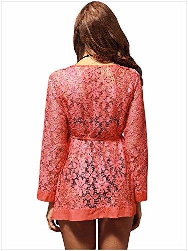 Orange neue mode - kleid spitzen durchbrochene bluse kragen langärmelige  strickjacke rock beach. Orange