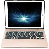 OBOR iPad Pro 12.9 pollici tastiera - Tastiera in lega di alluminio del Smart Base protettiva della copertura con 7 colori retroilluminazione tastiera Bluetooth senza fili per iPad Pro 12.9'' (Oro)