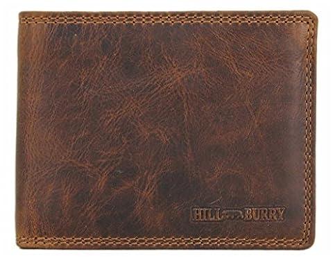 Hill Burry Echt-Leder Herren Geldbörse Portemonnaie Brieftasche Portmonee Geldbeutel Kredit-Kartenetui Wallet Vintage hochwertig