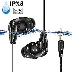 AGPTEK Ecouteurs Etanche 3.5mm IPX8 SE11B, Casque imperméable Compatible avec mp3 Etanche S12/S07, téléphone, iPad etc. Fil ressort 16-35cm et un fil d'extension inclus, Certifié par FCC,CE,ROHS- Noir