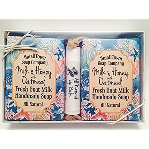 All Natural Handmade Milk & Honey w/Oatmeal Fresh Goat Milk Soap with All Natural French Vanilla Lip Balm Beautifully Packaged Gift Set-Deep Blue Sea by SmallTown Soap