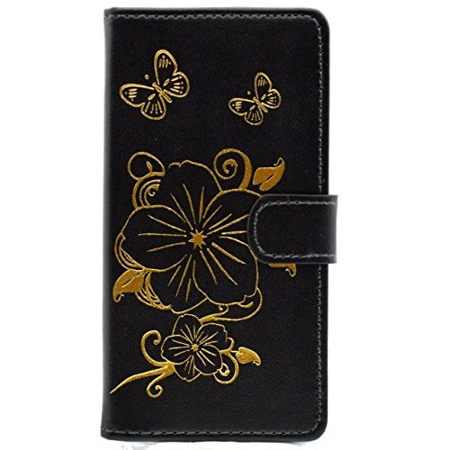 iPhone Case Cover Blumen-Schmetterlings-Vergoldung-Muster-Fall-Mappen-Standplatz-Fall-horizontaler Schlag-Fall PU-lederner Kasten TPU Abdeckung für Apple IPhone 7 plus 5.5 Zoll ( Color : Black , Size  Black
