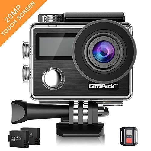 Campark Caméra Sport 4K Ultra HD 20MP WiFi Caméra d'action Étanche 30M 170 °Grand-angle Caméscope avec Écran...
