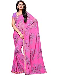 Alveera Latest Collection Floral Printed Laced Border Designer Georgette Free Size Saree With Blouse - Pink
