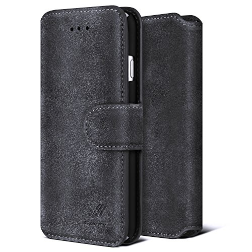 iPhone 7 Folio Wallet Case, SAVFY Retro Style Slim Flip Wallet Leather Stand Case Protective Skin Cover for for Apple iPhone 7 4.7inch (Black)