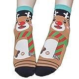 ILOVEDIY 1Paar Design Frau Mädchen Weihnachten Festlicher Spaß Neuheit Cotton Socken Weihnachtssocken Christmas stockings (Hirsch)